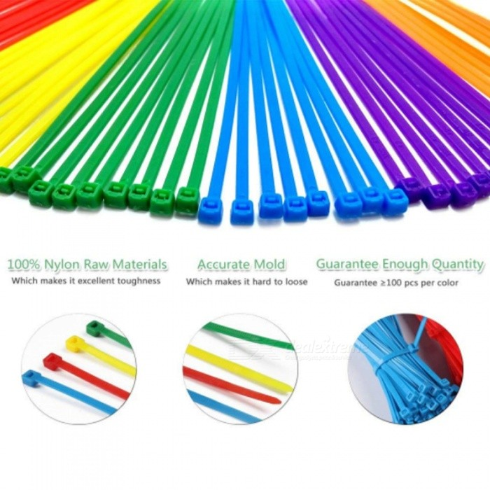 600Pcs / 3x100mm Locking Plastic Nylon Cable Ties Zip Tie Loop - Multicolor