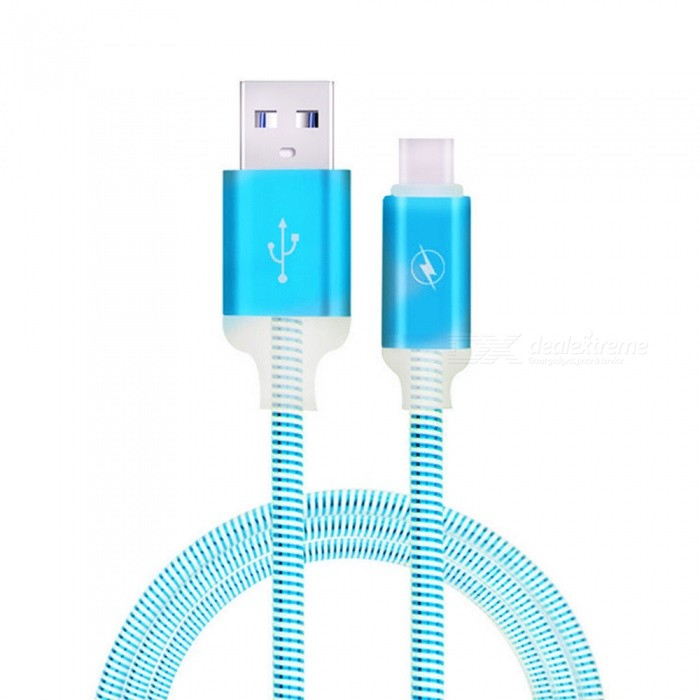 1m LED Sparkle Type-C USB 2.0 Data Sync Charging Cable - Blue