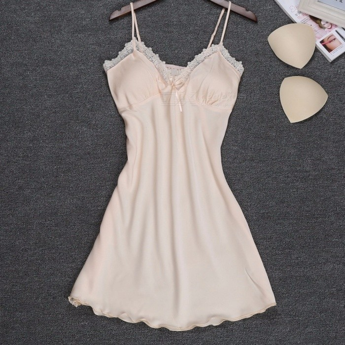 Summer Soft Silk Sexy V Neck Sling Strap Nightgown For Lady, Breathable Lace Padded Nightwear Lingerie Champagne/XXL for sale in Bitcoin, Litecoin, Ethereum, Bitcoin Cash with the best price and Free Shipping on Gipsybee.com