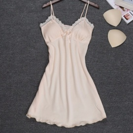 Summer-Soft-Silk-Sexy-V-Neck-Sling-Strap-Nightgown-For-Lady-Breathable-Lace-Padded-Nightwear-Lingerie