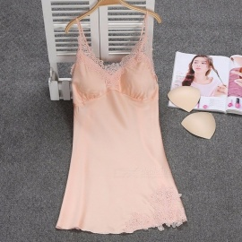 Summer-Sexy-V-Neck-Sling-Strap-Nightgown-For-Lady-Breathable-Lace-Padded-Nightwear-Lingerie