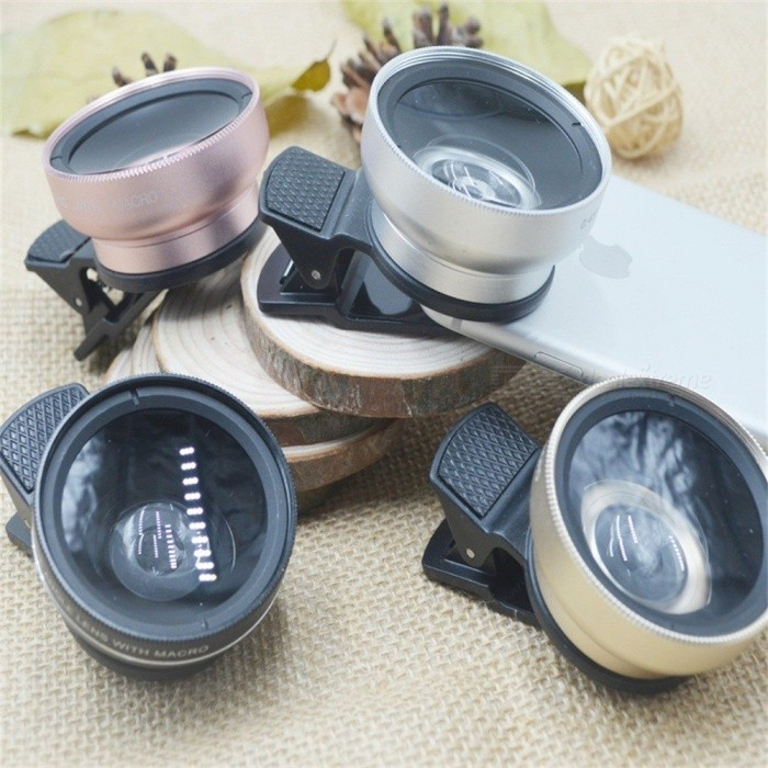 Buy Universal Clip-On 0.45X Wide-Angle Macro Mobile Phone Lens, Glass External SLR Camera Lens Pink with Litecoins with Free Shipping on Gipsybee.com
