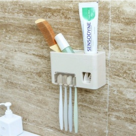 Hand Free Toothpaste Dispenser, Automatic Wall Mounted Sticker 4 Toothbrush Holder Squeezer, Bathroom Organizer Shelf Light Grey
