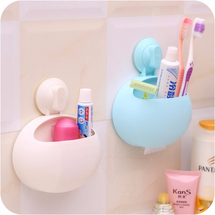 High Quality Creative Cute Cartoon Sucker Toothbrush Rack Wall Suction Bathroom Set, Toothbrush Holder Sky Blue