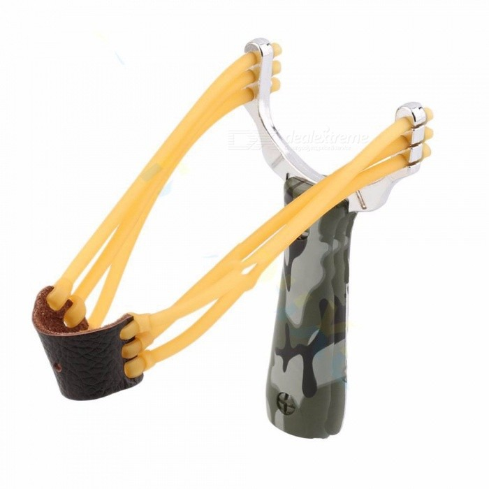 Powerful Steel Alloy Slingshot Sling Shot, Camouflage Bow Catapult, Outdoor Hunting Camping Bow Travel Kit Army Green