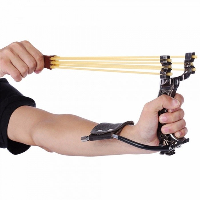 Buy Powerful Hunting Slingshot With Rubber Band, Tubing PU Leather Catapult, Professional Tactical Plastic Pocket Sling Shot Light Grey with Litecoins with Free Shipping on Gipsybee.com
