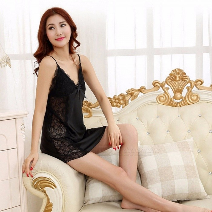 Summer Soft Silk Sexy V Neck Sling Strap Nightgown For Lady, Breathable Short Nightwear Lingerie Champagne/XXL for sale for the best price on Gipsybee.com.