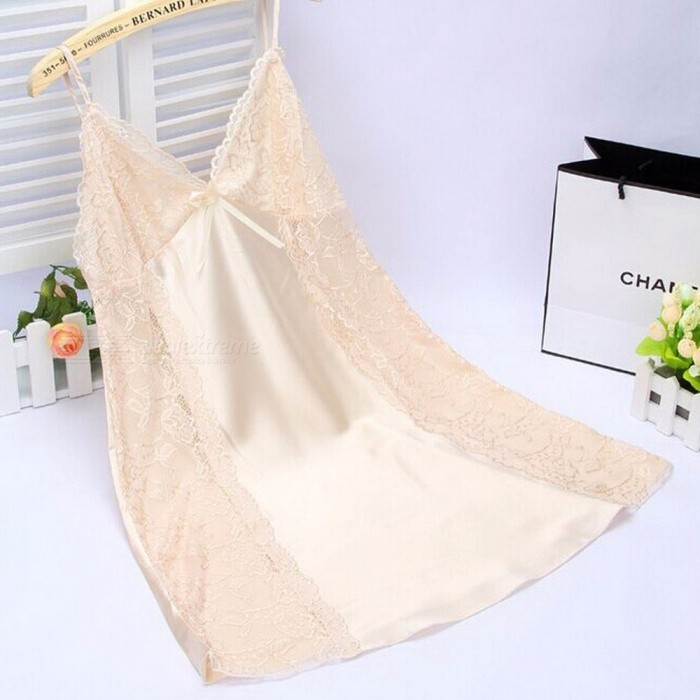 Summer Soft Silk Sexy V Neck Sling Strap Nightgown For Lady, Breathable Backless Lace Nightwear Lingerie Champagne/XL for sale for the best price on Gipsybee.com.