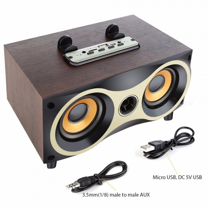 Portable Wooden Wireless Speaker Subwoofer, Stero Bluetooth Speaker W/ FM Radio, Desktop Soundbox For IPHONE Android Black/Speaker