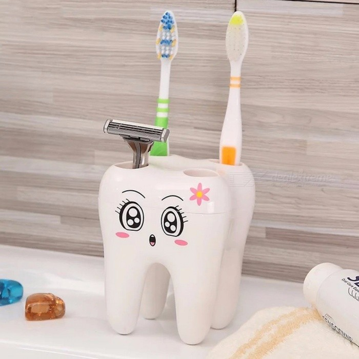 Creative Cartoon 4 Hole Teeth Style Toothbrush Holder, Brush Shelf Bracket Container For Bathroom Accessories White