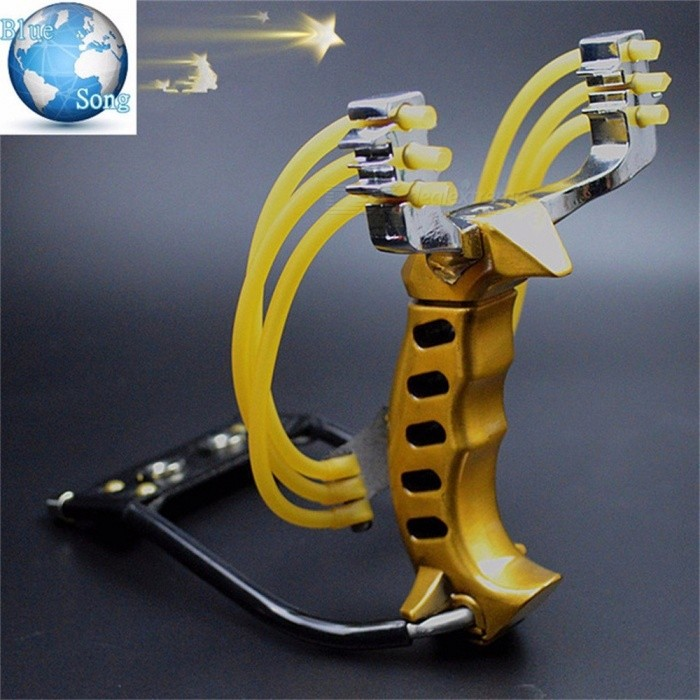 3 Rubber Bands Folding Wrist Slingshot Catapult Outdoor Game Powerful Hunting Bow Arrow