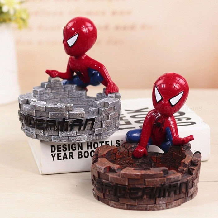 American Spider-Man Ashtray, Desktop Decor Figurines, Zakka Cartoon Resin Ashtray Craft, Office Desktop Decoration Dark Grey