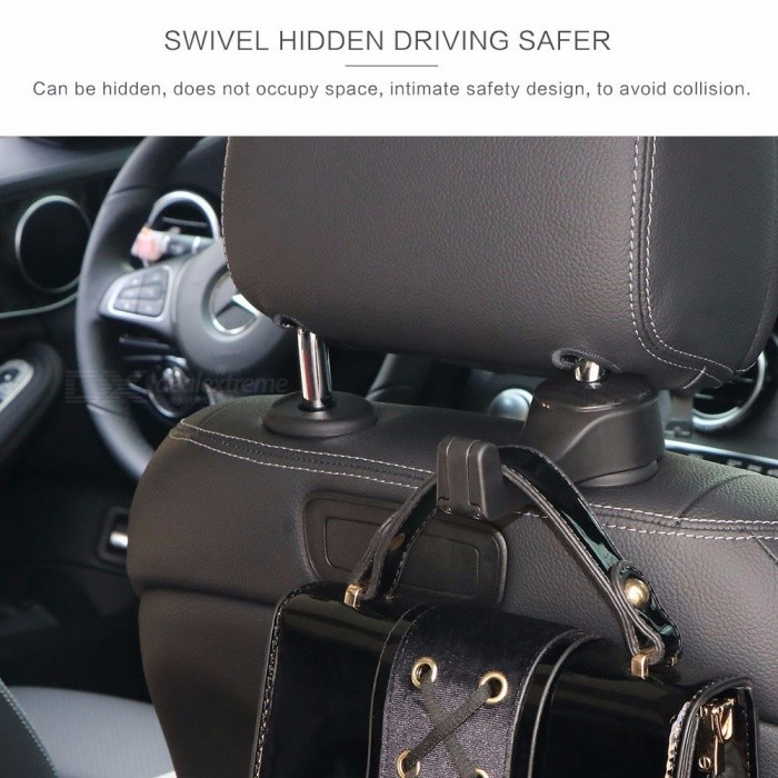 Buy Car Headrest Hook With Phone Holder, Seat Back Hanger For Bag Handbag Purse Grocery Cloth Black with Litecoins with Free Shipping on Gipsybee.com