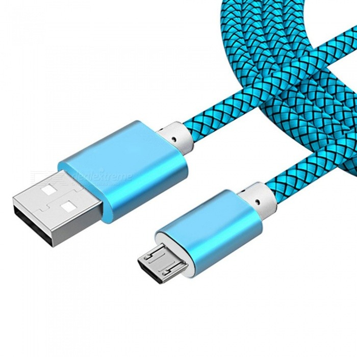 Premium Durable Nylon Braided USB To Micro USB Fast Charging Data Cable For Android Phones Sky Blue/1.5m