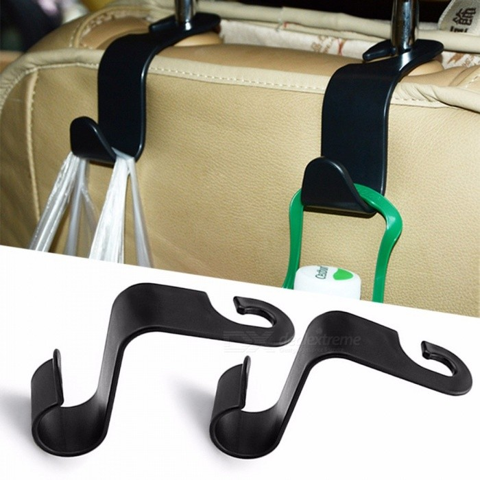 Buy Universal Car Seat Back S Shape Hook Hanger Organizer, Auto Headrest Mount Storage Hook For Car Interior Storage Black with Litecoins with Free Shipping on Gipsybee.com