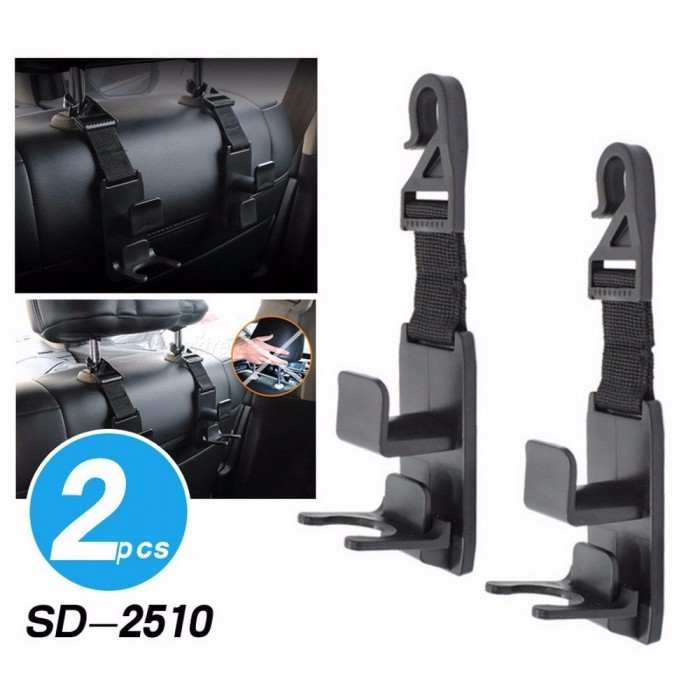 Buy 1 Pair Universal Car Headrest Hooks, Back Seat Hanger, Storage Bottle Holder Black with Litecoins with Free Shipping on Gipsybee.com