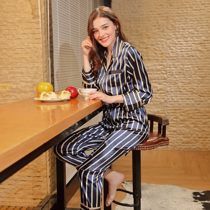 Buy Spring New Spun Silk Nightwear Ladies Long Sleeved Trousers Home Two Suit Women  Pajamas Set TZ596 Navy/XL with Litecoins with Free Shipping on Gipsybee.com