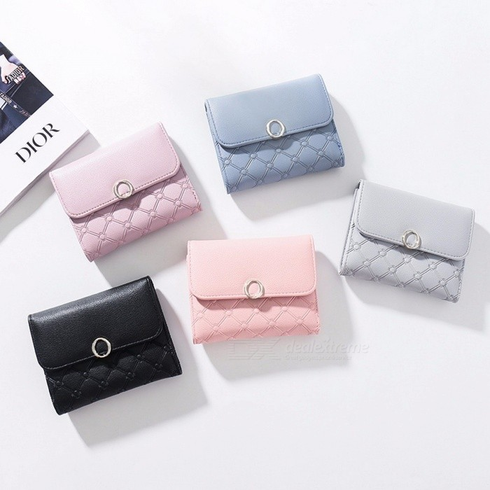 Buy Women\'s Wallet Purse Candy-colored Small And Thin Ladies Purse Card Holder Light Grey with Litecoins with Free Shipping on Gipsybee.com