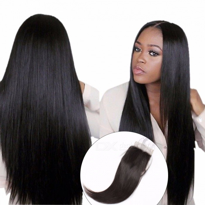 Brazilian Straight Lace Closure With Baby Hair Swiss Lace Free Middle Three Part 4x4 Non Remy Closure Can Be Dyed 20inchesThree Part