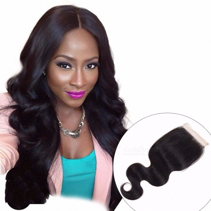 "Malaysian Body Wave Closure, Non Remy Hair Lace Closure, 4""x4"" Swiss Lace Natural Human Hair 20inches/Three Part"