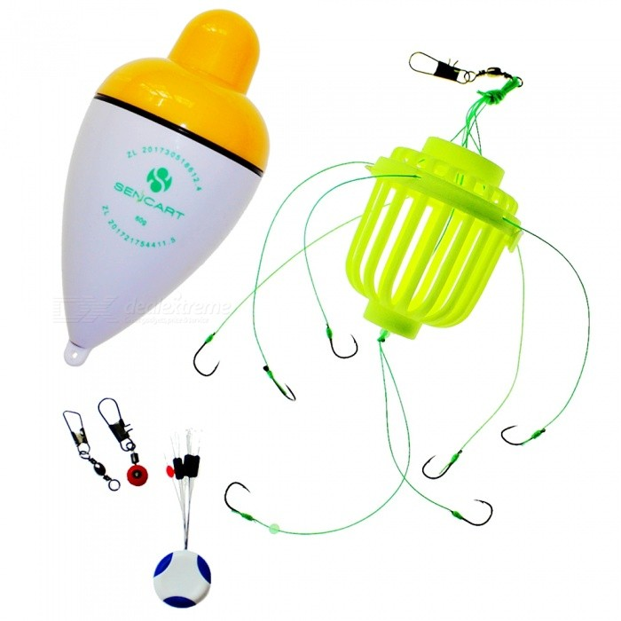 SENCART LED Flashing Fishing Bobber With Seven Hook Night Fishing Cage Set  - Yellow (60g)
