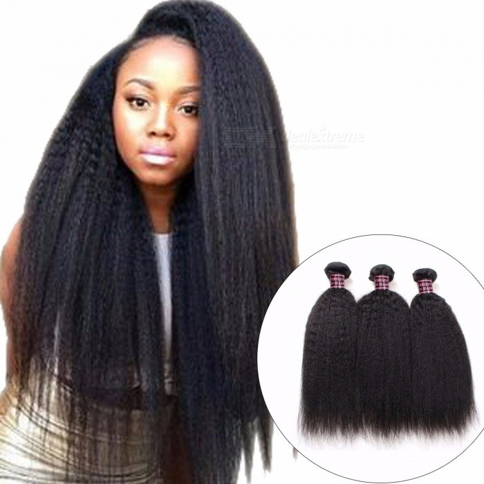 Yaki Straight Peruvian Human Hair Weave 3 Bunter Kinky Straight Menneskehår Forlengelser Ikke Remy Hår For Svart Ingen Tangle 24 26 28