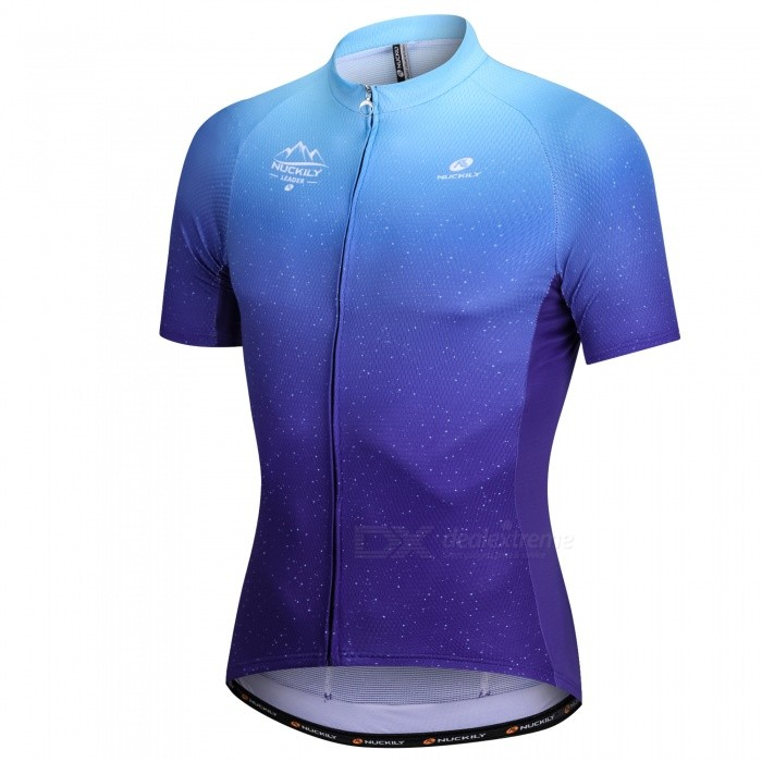 NUCKILY Blue Professional Bicycle Road Mountain Bike Cycling Clothes Male Summer Short-sleeved T-shirt Custom Clothing