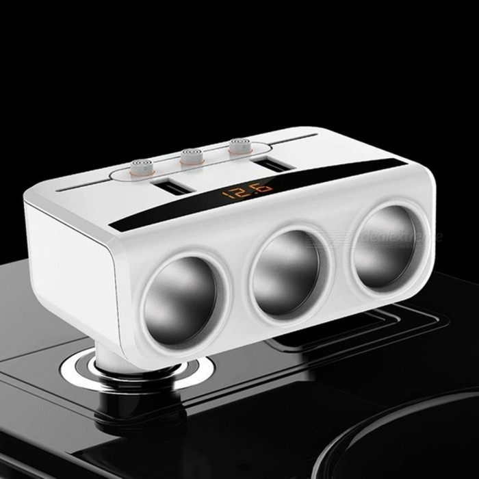 Car Cigarette Lighter Sockets Splitter 3.1A USB Phone Charging with Dual USB Ports - White