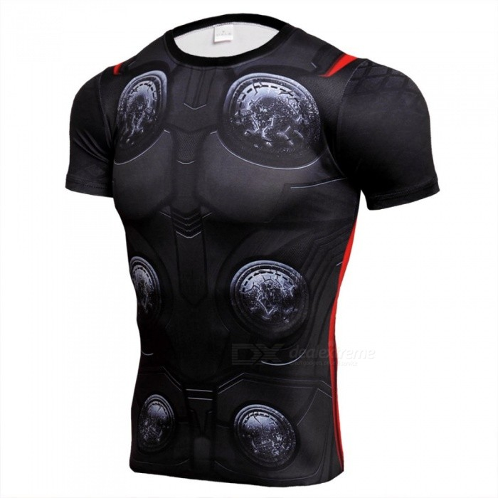 3D God of Thunder Printing Quick Dry Short Sleeved Sports Tight, Men's T-Shirt - Black (M)