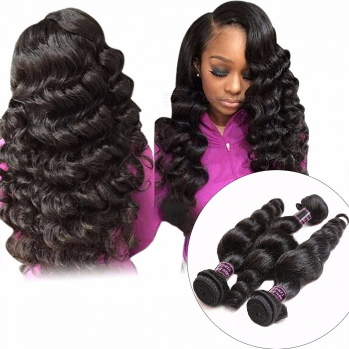 3 Bundles Indian Loose Wave Human Hair Weave Bundle Non-Remy Hair Extensions Natural Black Double Weft No Shedding 24 26 28