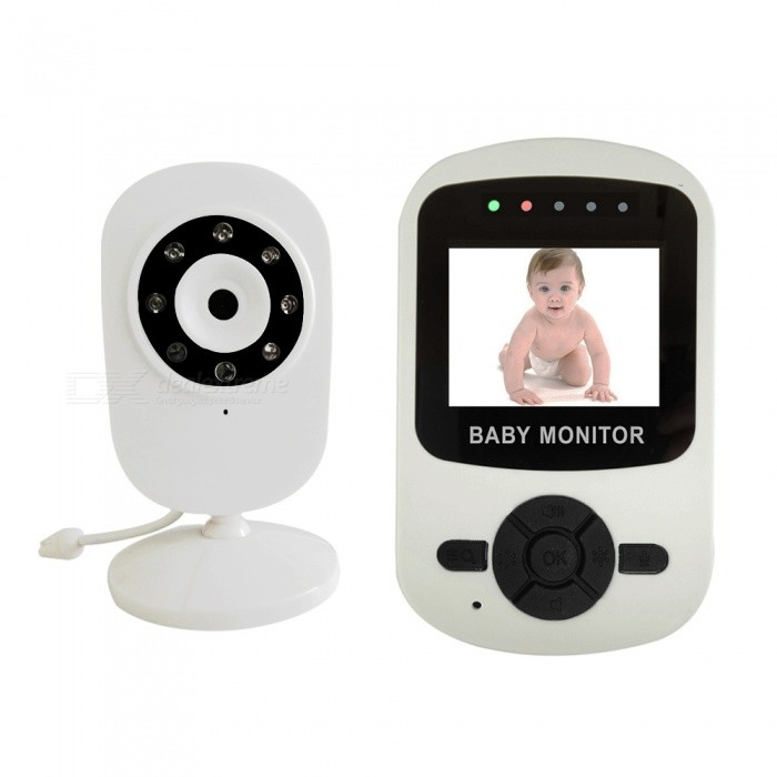 "XSUNI Mini 2.4"" Wireless LCD Audio Video Baby Monitor Intercom IR Camera - White (EU Plug)"