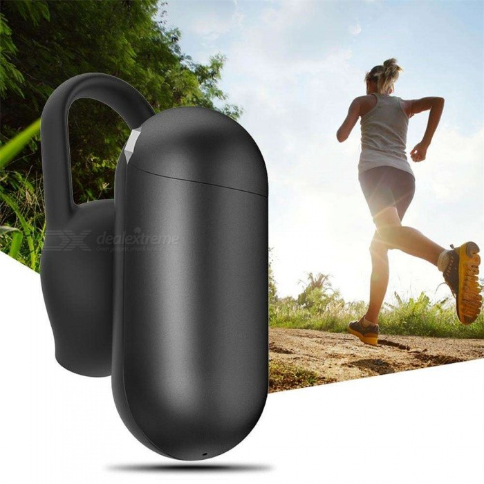 Q12 Single Ear Wireless Bluetooth Headset, Ultra Small Waterproof Invisible Earphone - Black