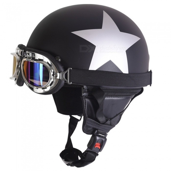 Star Pattern Outdoor Riding Helmet Safe Half Helmet with Belt - Matt Black
