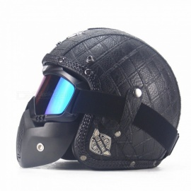 Outdoor Riding Helmet Safe 3/4 Leather Vintage Helmet with Belt - Black