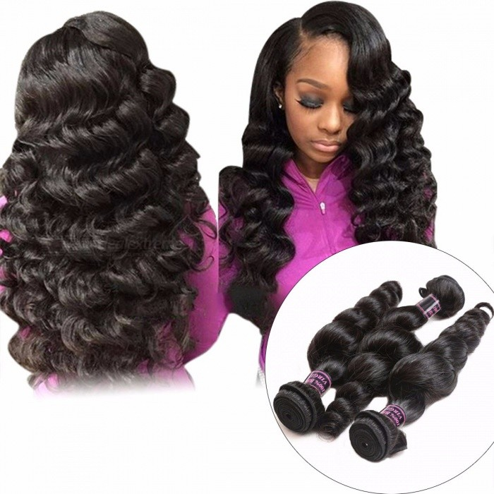 Malaysian Loose Wave 3 Bundles Human Hair Extensions 300g For Full Head Non Remy Hair Weave Bundles Natual Color Hair 24 26 28
