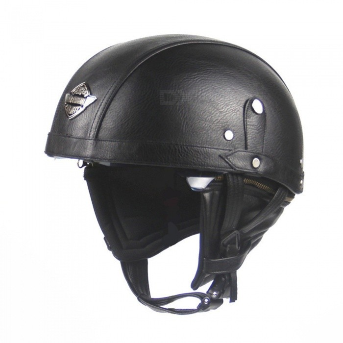 Outdoor Motorcycling Adult Leather Harley Helmets for Motorcycle Retro Half Helmet