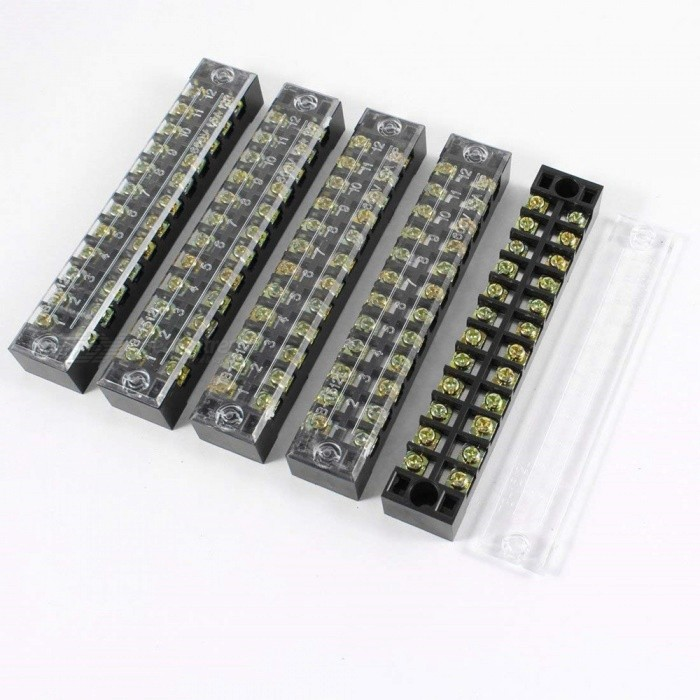 BTOOMET-10Pcs-600V-15A-12-Positions-12P-Dual-Rows-Covered-Barrier-Screw-Terminal-Block