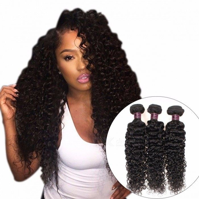3 Bundles Human Hair Weave Peruvian Curly Hair Bundles Natural Color Non Remy Afro Kinky Curly Human Hair Extensions 24 26 28