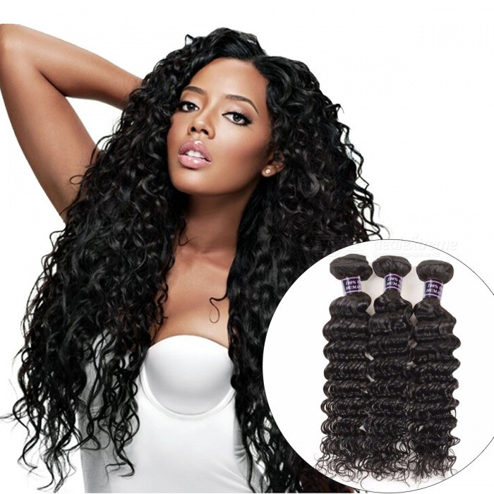 3 Bundles Brazilian Deep Wave Human Hair Weave Bundles 300g For Full Head Natural Color Non Remy Hair 24 26 28