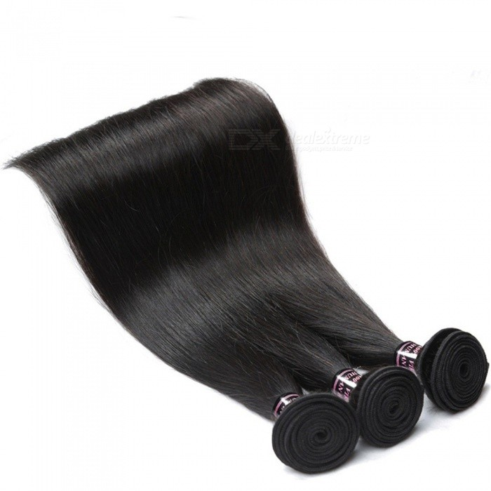 Peruvian Human Hair 3 Bundles Straight Human Hair Weave Extensions Non Remy Hair Natural Color Can Be Dyed Hair Bundles 24 26 28