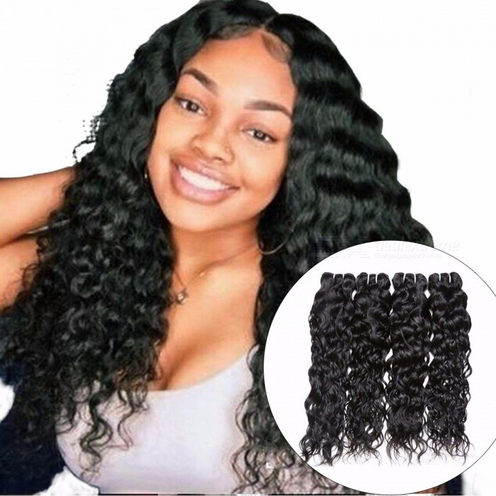 4 Bundles Peruvian Water Wave Human Hair Bundles, Non Remy Hair Extensions, Natural Black Color Can Be Dyed No Tangle 24 26 28 28