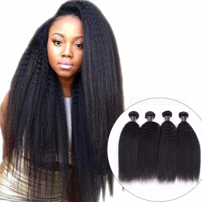4 Bundles Yaki Straight Peruvian Human Hair Weave Non Remy Hair Kinky Straight Human Hair Extensions For Black No Tangle 24 26 28 28