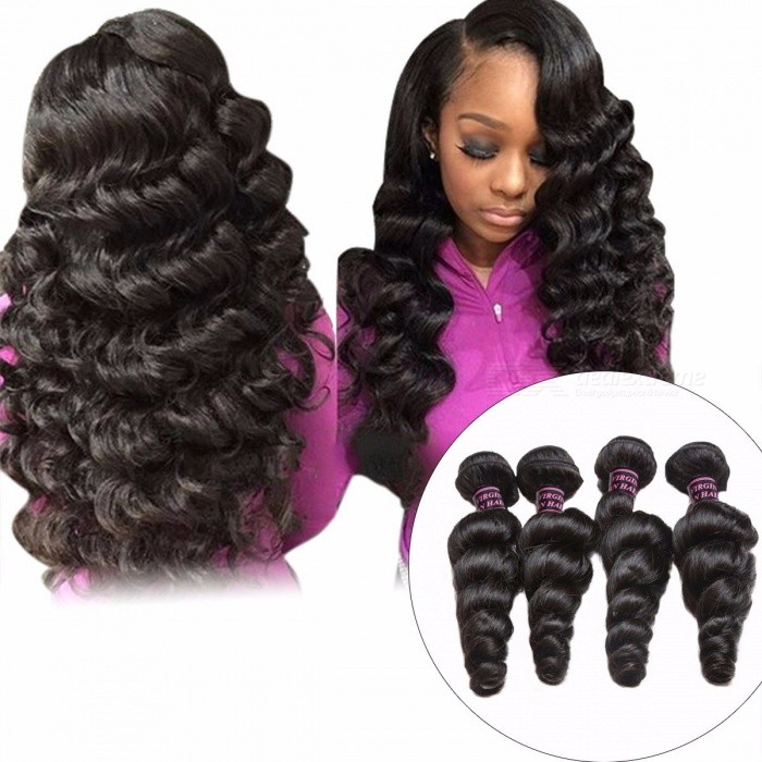 Indian Loose Wave 4 Bundles, Human Hair Weave Bundle, Non-Remy Hair Extensions, Natural Black Double Weft No Shedding 24 26 28 28