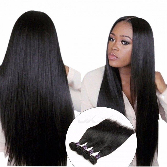Straight Hair 4 Bundles, Indian Human Hair Weave Extensions, 100% Human Hair 4 Bundles Deal, Non Remy Natural Black Hair 24 26 28 28