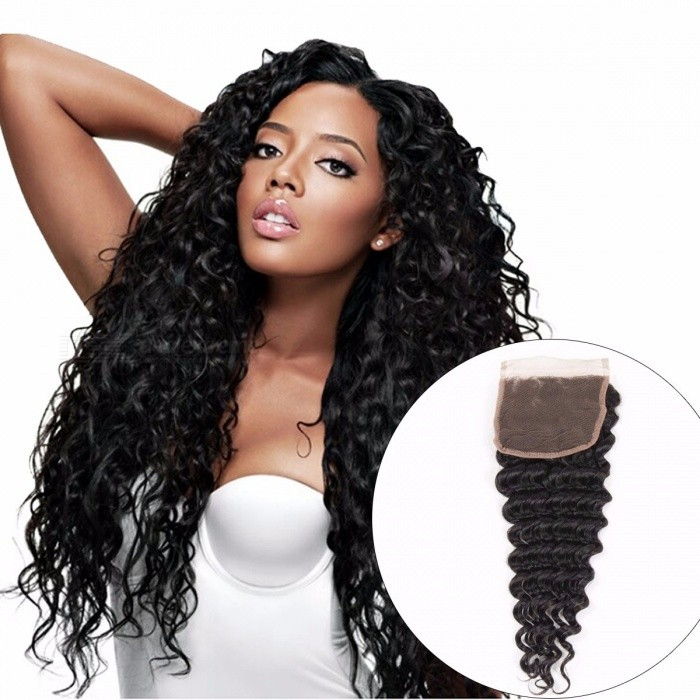 Indian Deep Wave Lace Closure, 4*4 Human Hair Closure, 130% Destiny Swiss Lace Non Remy Hair Closure Baby Hair 20inchesThree Part
