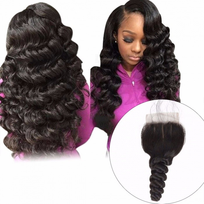 Brazilian Loose Wave Closure, 4*4 Lace Free Middle Part Non Remy Human Hair, Natural Color Lace Closure 8inchesMiddle Part
