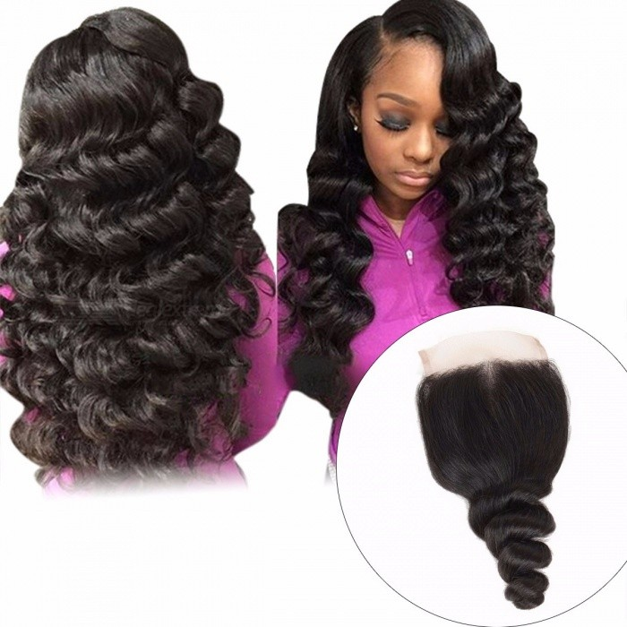 "Peruvian Loose Wave Closure Hand Tied 4""x4"" Swiss Lace Free Shipping Non Remy 100% Human Hair Free Part 1 Piece Only 8inchesMiddle Part"