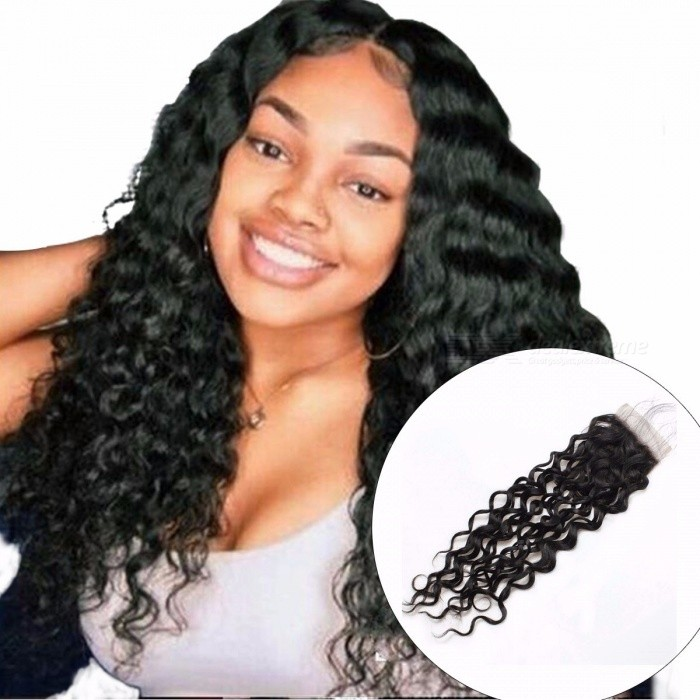Brazilian Water Wave Human Hair Lace Closure, 4x4 Non Remy Hair Closure, Swiss Lace Closure 8inchesMiddle Part