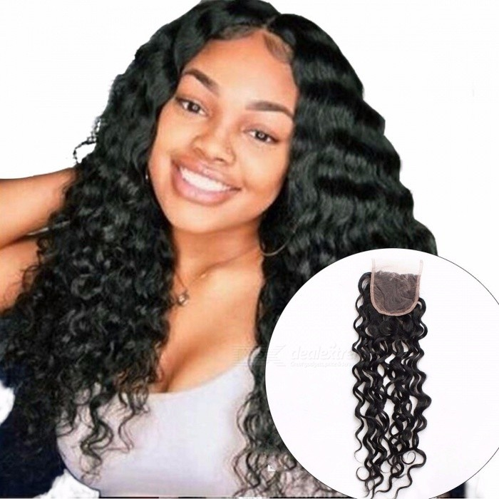 Peruvian Water Wave Lace Closure, 130% Density Human Hair Extension Top Closure, Non Remy Hair Closure 8inchesMiddle Part