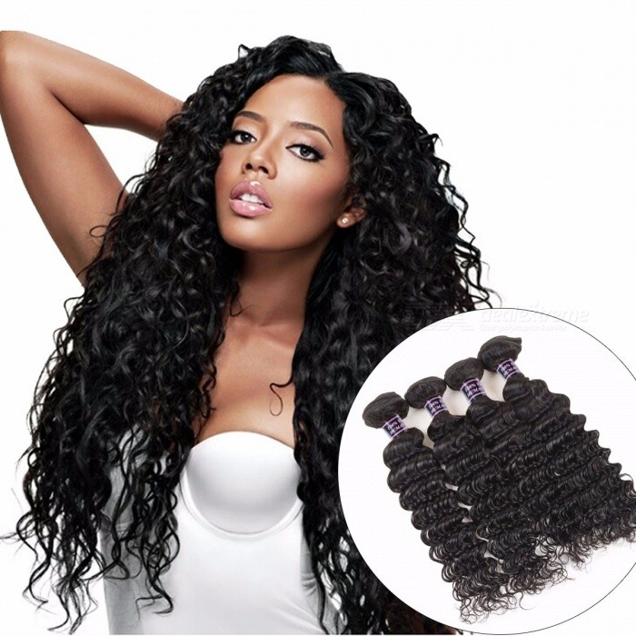 4 Bundles Deep Wave Brazilian Human Hair Weave Bundles For Full Head, Natural Color Non Remy Hair Extensions 24 26 28 28